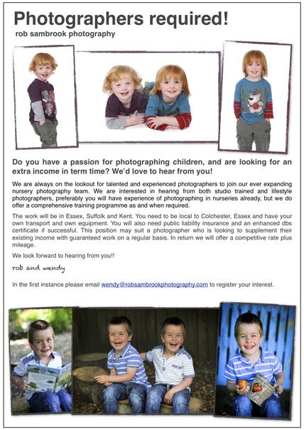 Freelance nursery photographers wanted!