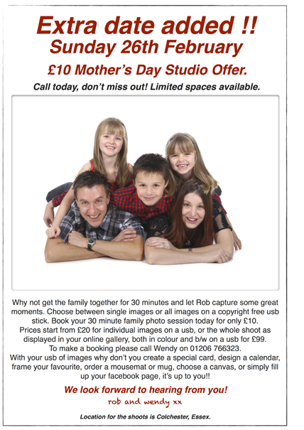 £10 mothers day family shoot 2017