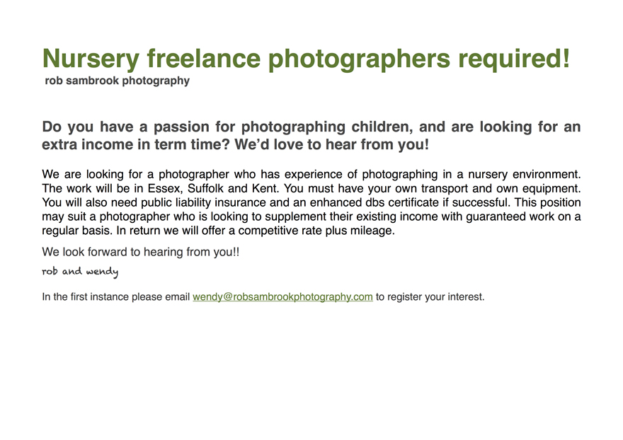 nursery freelance photographer required