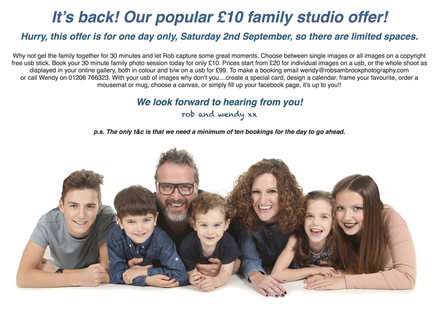 £10 family shoot studio offer