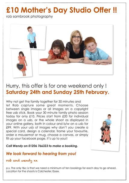 £10 Mother's Day Family Studio Offer
